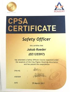 CPSA Certificate - Safety Officer